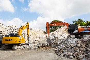 ○山を切り崩すことなく、資材の再生により石資源の循環に貢献